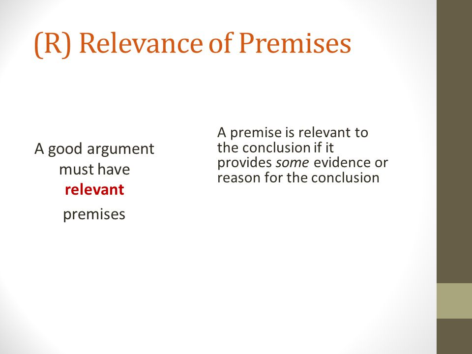 (R) Relevance of Premises