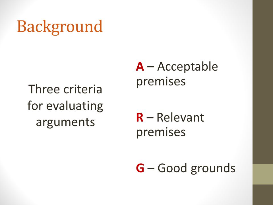 Three criteria for evaluating arguments