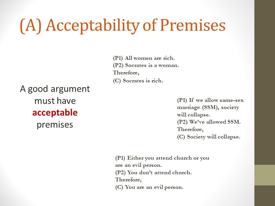 (A) Acceptability of Premises