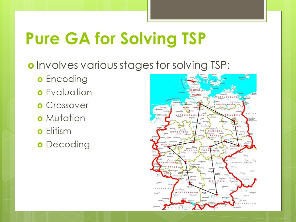 Pure GA for Solving TSP Involves various stages for solving TSP: