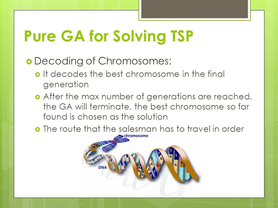 Pure GA for Solving TSP Decoding of Chromosomes: