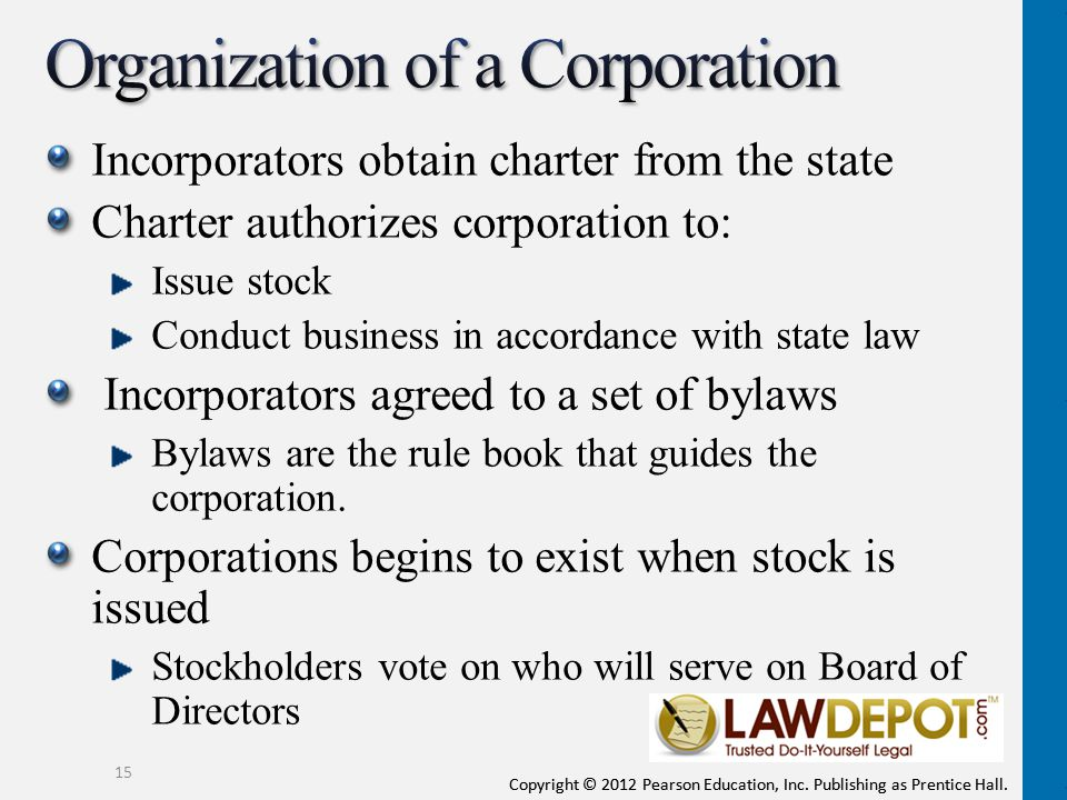 Organization of a Corporation