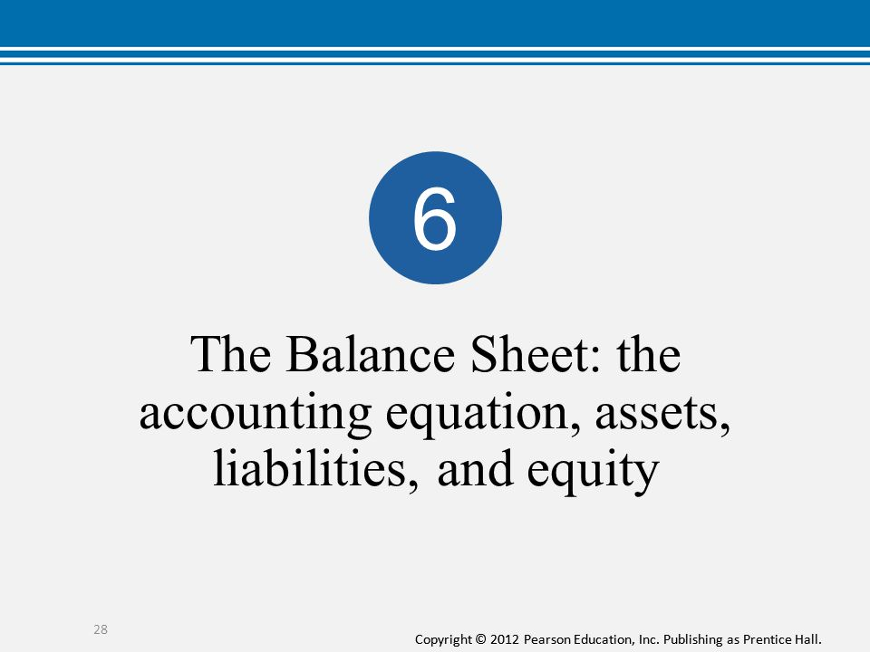 6 The Balance Sheet: the accounting equation, assets, liabilities, and equity.