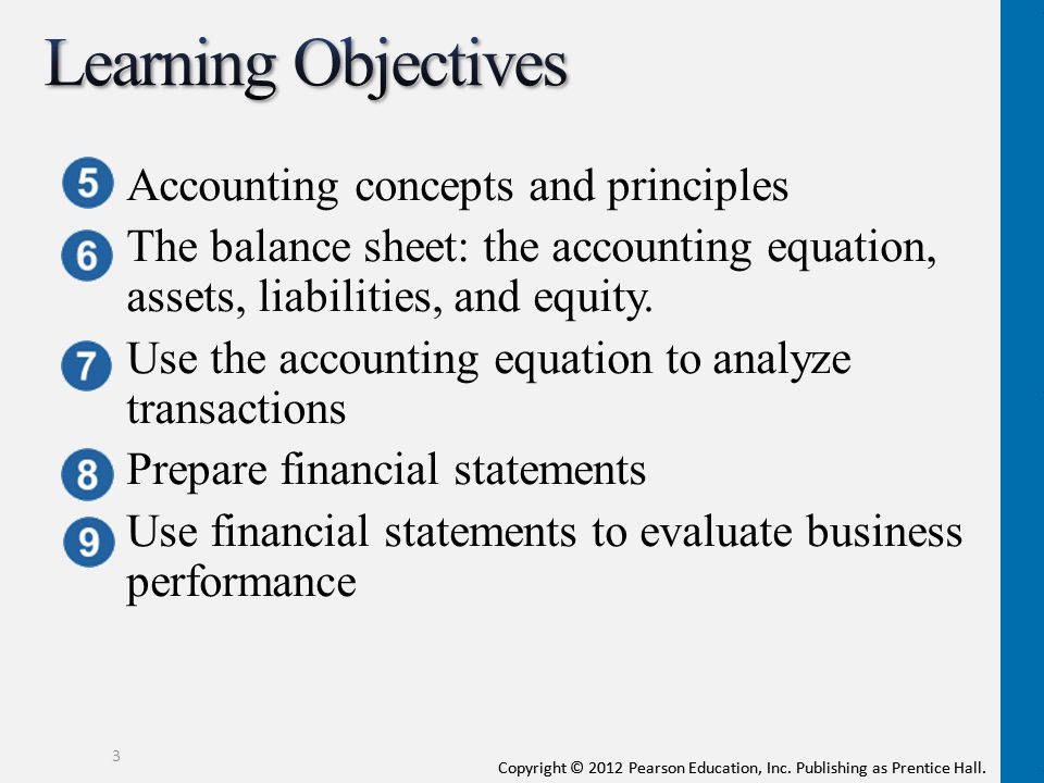 Learning Objectives Accounting concepts and principles