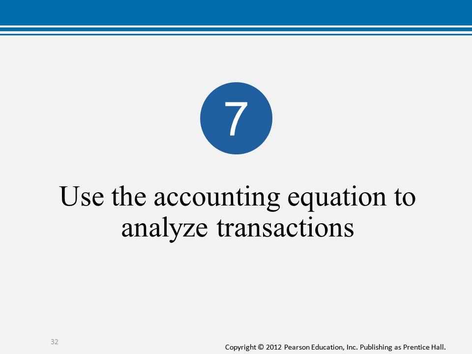 Use the accounting equation to analyze transactions