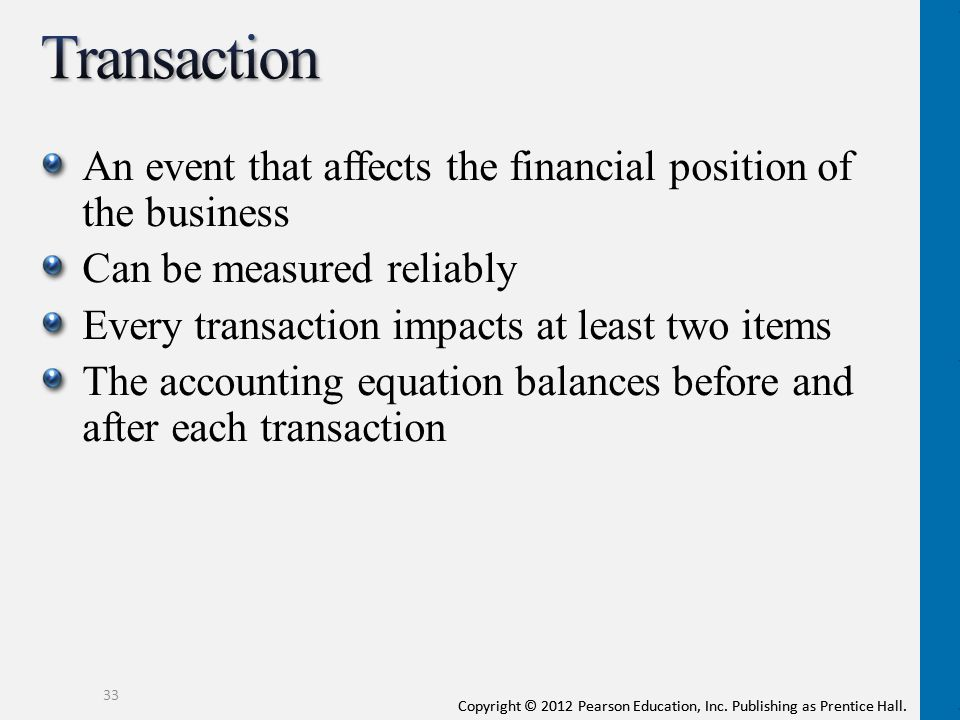 Transaction An event that affects the financial position of the business. Can be measured reliably.