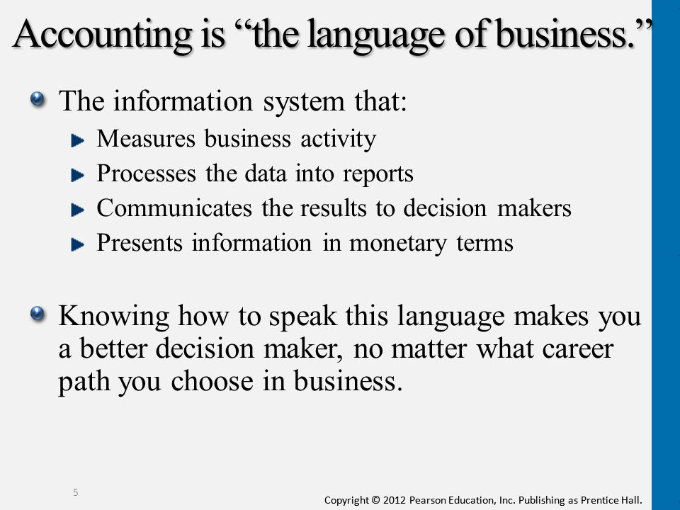 Accounting is the language of business.