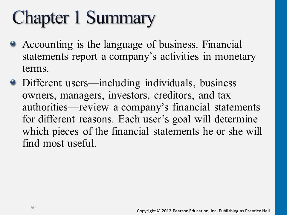 Chapter 1 Summary Accounting is the language of business. Financial statements report a company's activities in monetary terms.