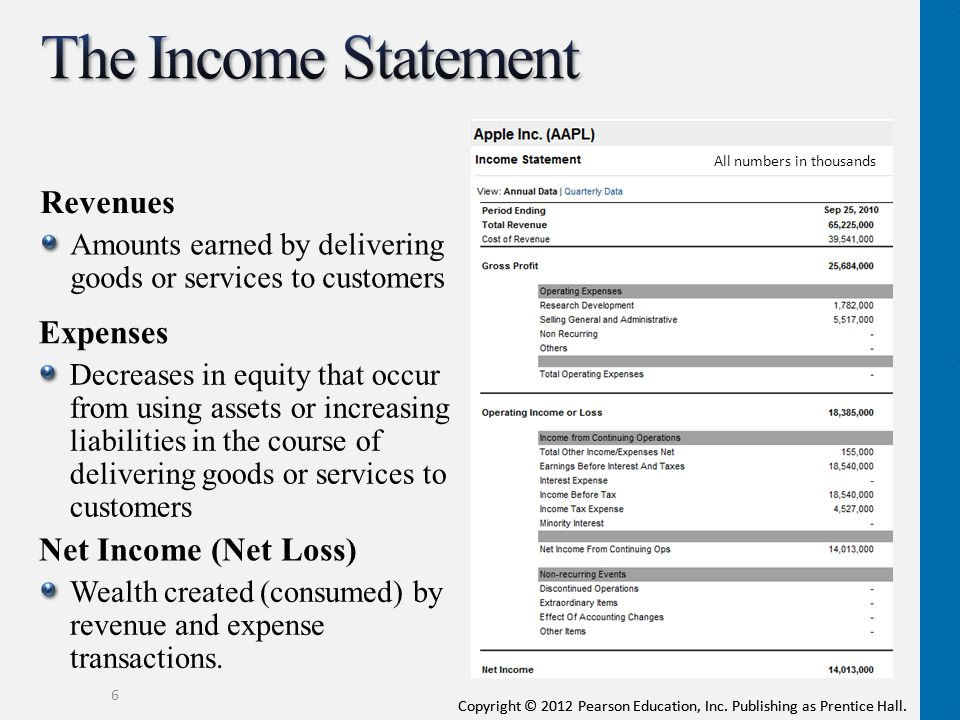 The Income Statement Revenues Expenses Net Income (Net Loss)