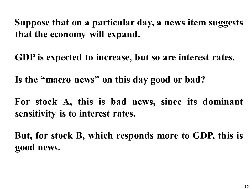 Suppose that on a particular day, a news item suggests that the economy will expand.