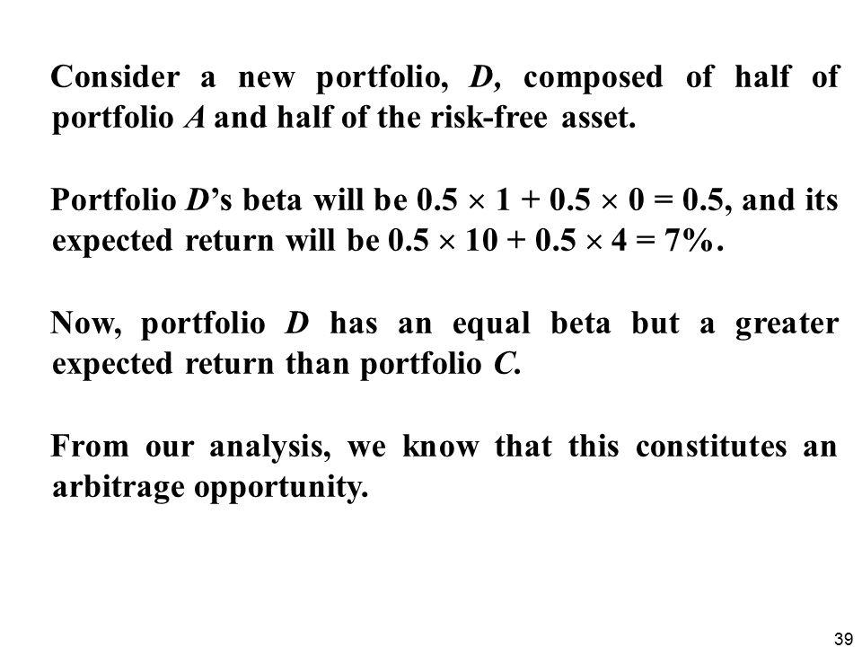 Consider a new portfolio, D, composed of half of portfolio A and half of the risk-free asset.