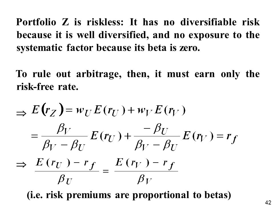 Portfolio Z is riskless: It has no diversifiable risk because it is well diversified, and no exposure to the systematic factor because its beta is zero.