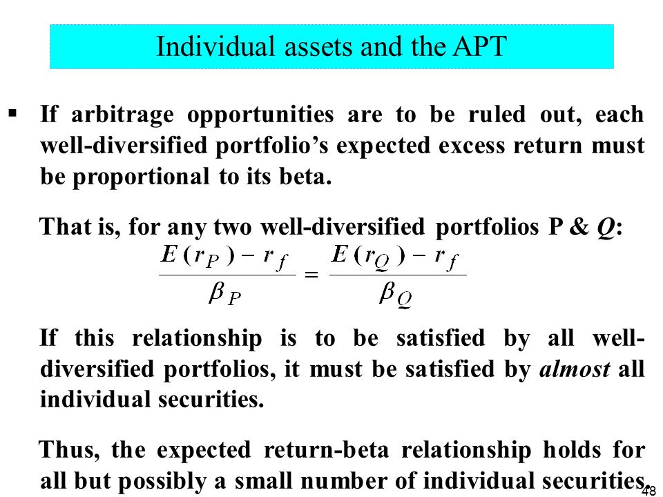 Individual assets and the APT
