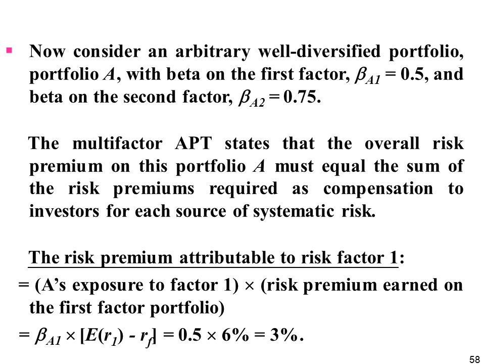 Now consider an arbitrary well-diversified portfolio, portfolio A, with beta on the first factor, A1 = 0.5, and beta on the second factor, A2 = 0.75.