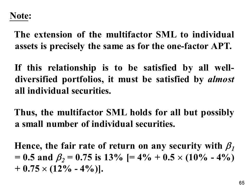 Note: The extension of the multifactor SML to individual assets is precisely the same as for the one-factor APT.