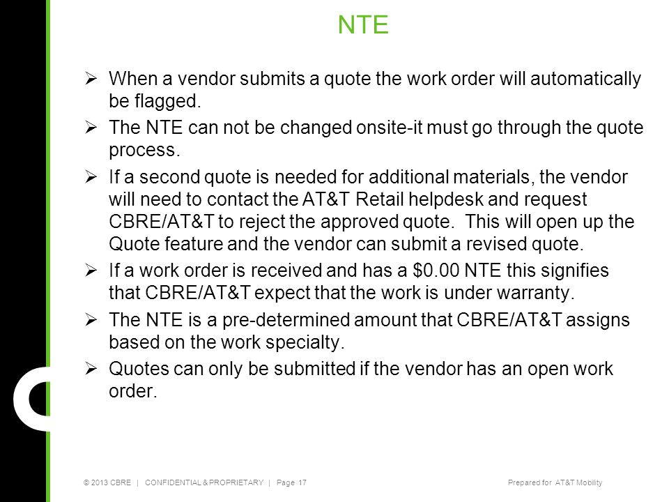 NTE When a vendor submits a quote the work order will automatically be flagged.
