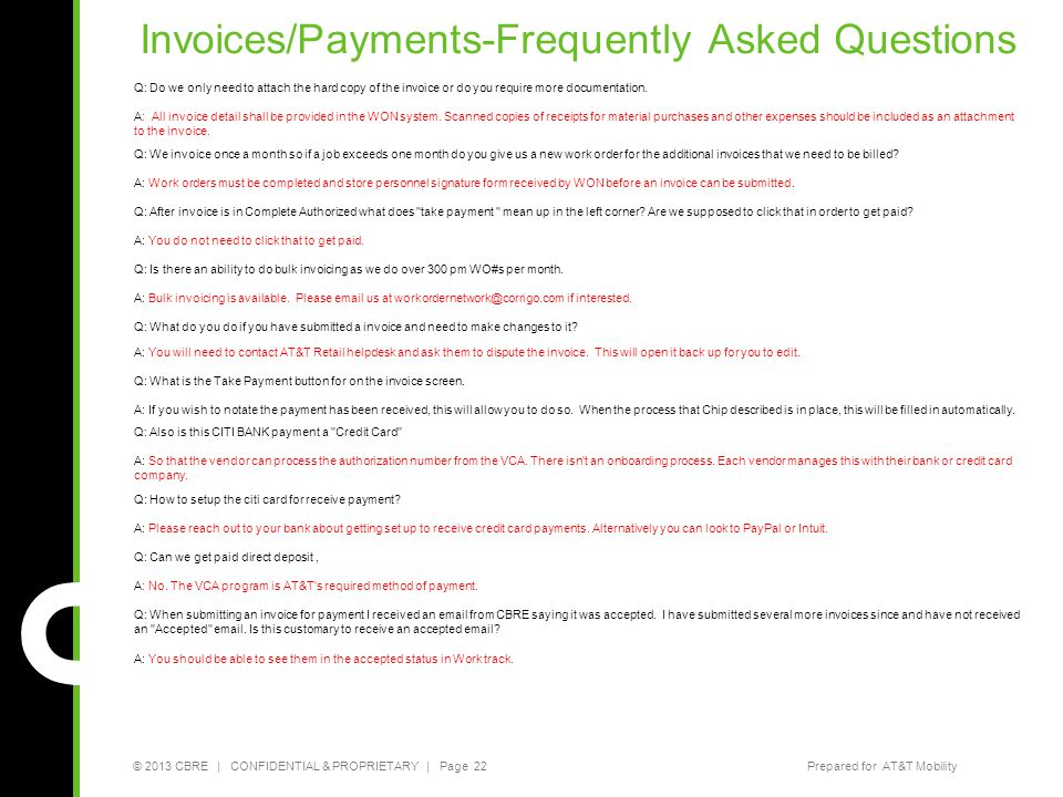 Invoices/Payments-Frequently Asked Questions