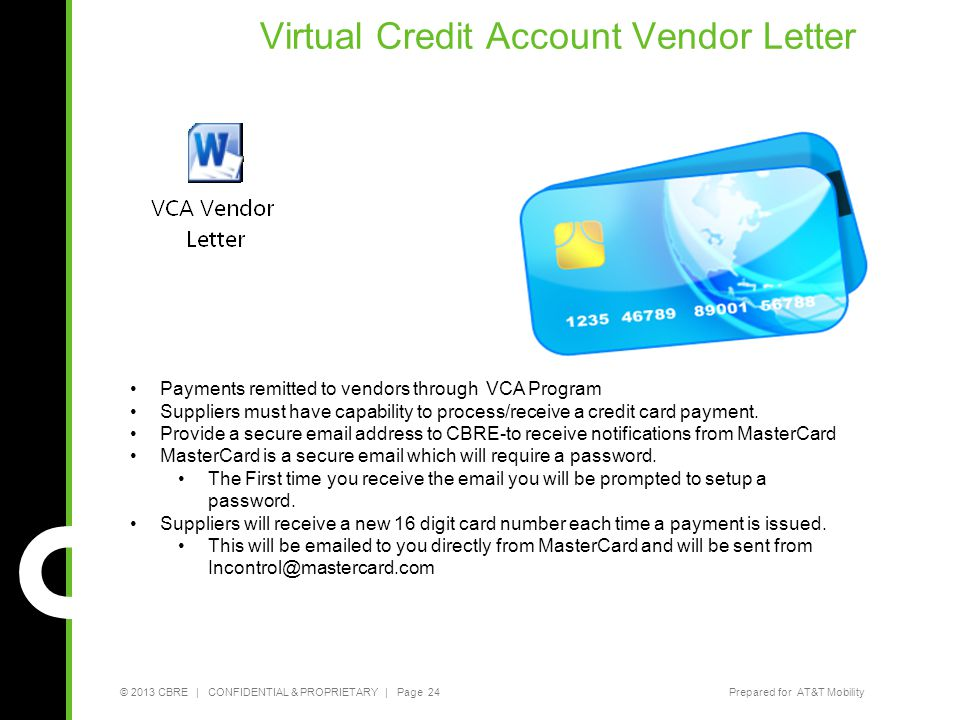 Virtual Credit Account Vendor Letter