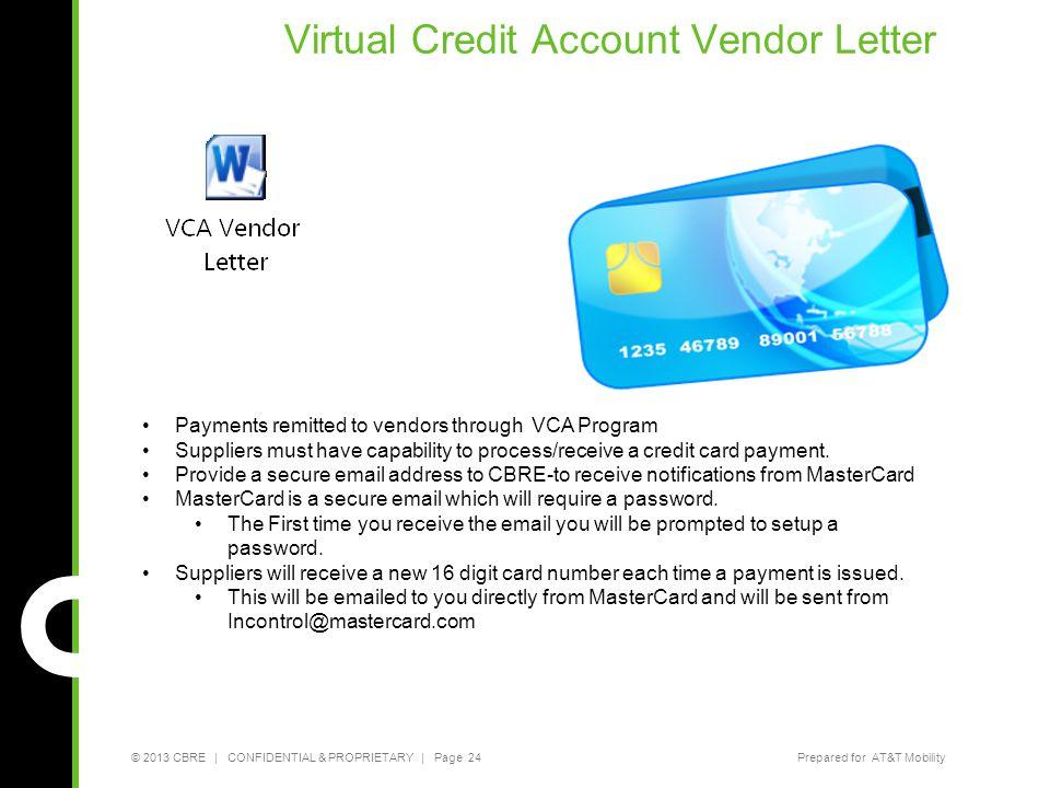 Virtual Credit Account Vendor Letter