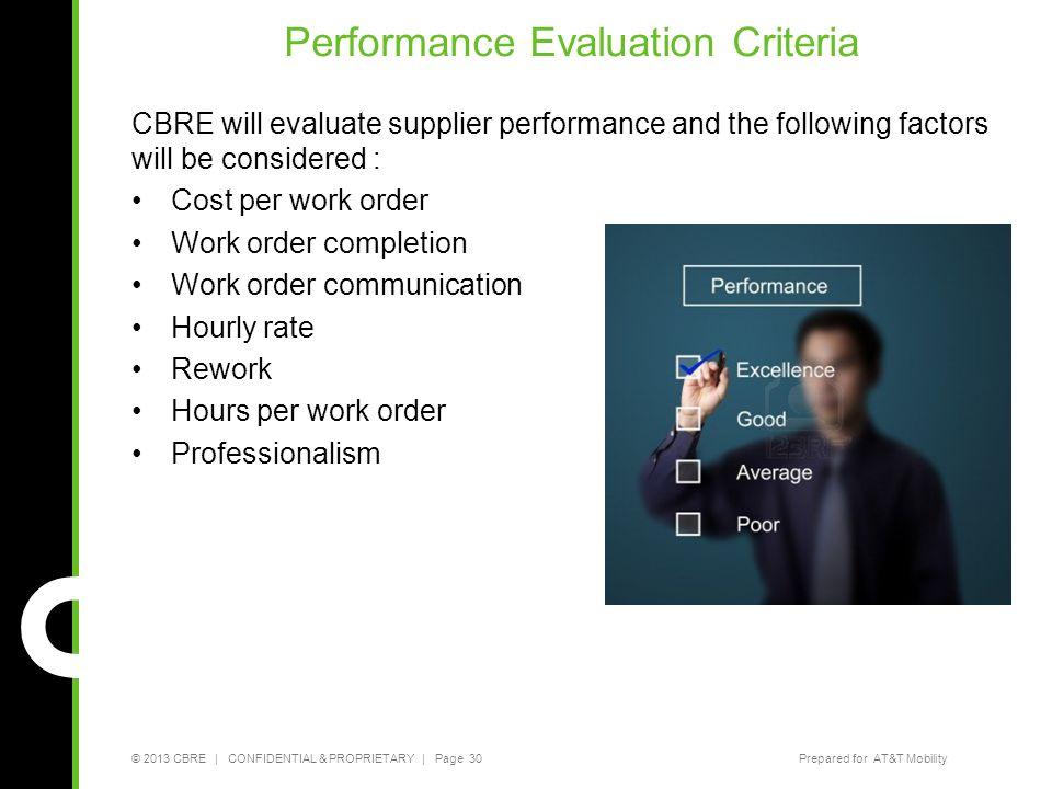 Performance Evaluation Criteria