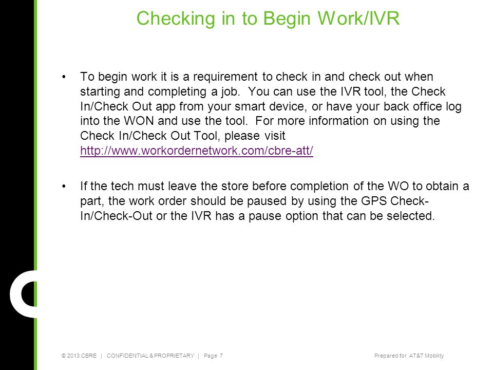Checking in to Begin Work/IVR