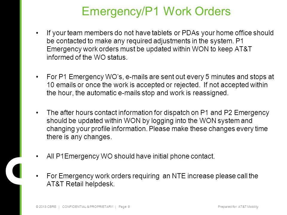 Emergency/P1 Work Orders