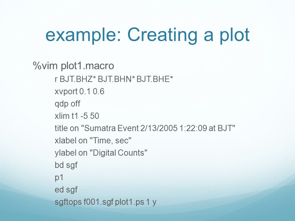 example: Creating a plot