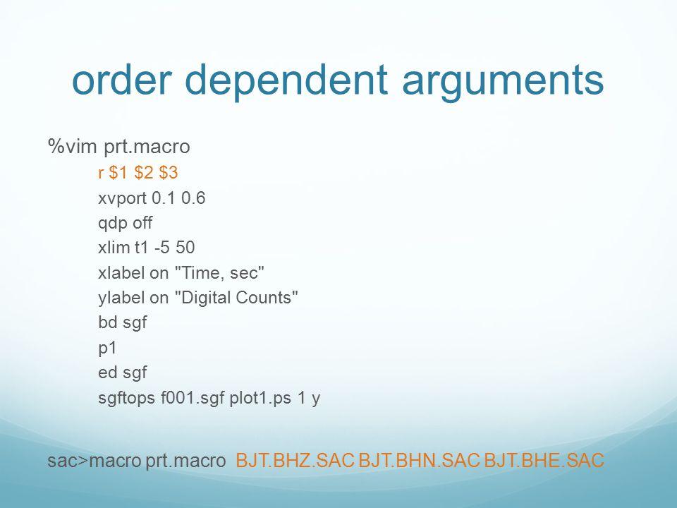 order dependent arguments