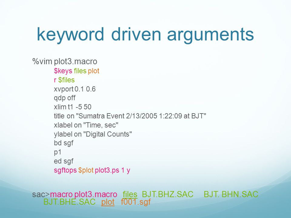 keyword driven arguments