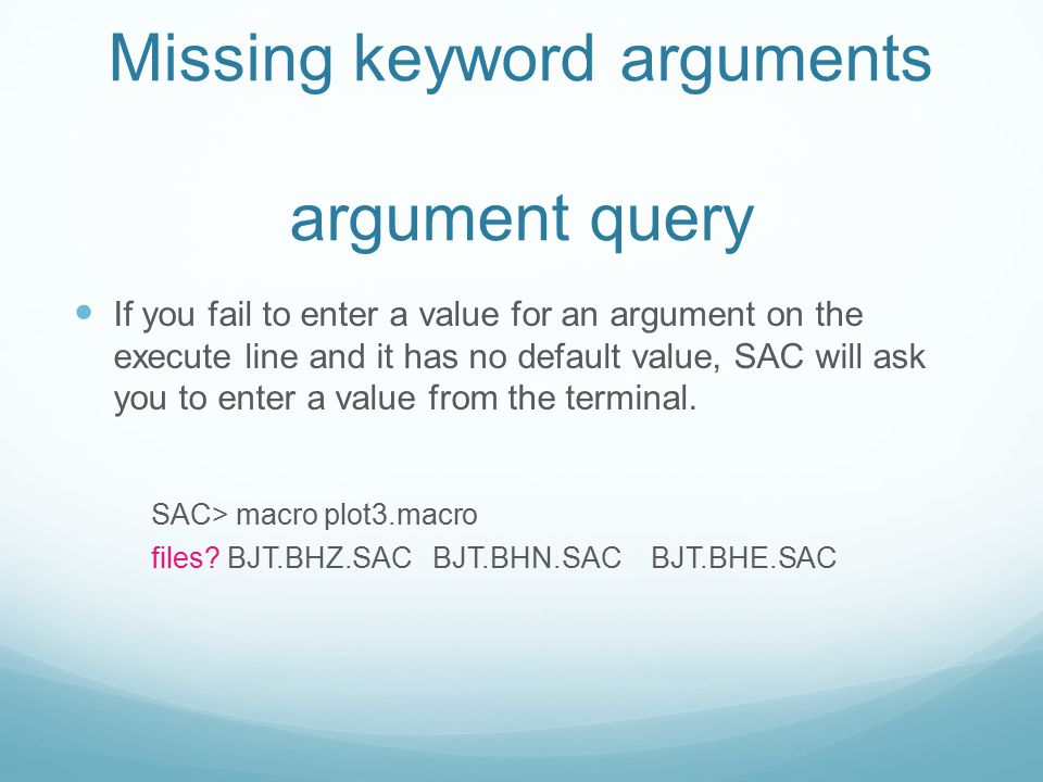 Missing keyword arguments argument query