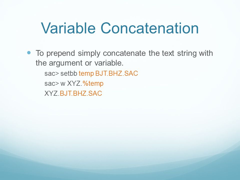 Variable Concatenation