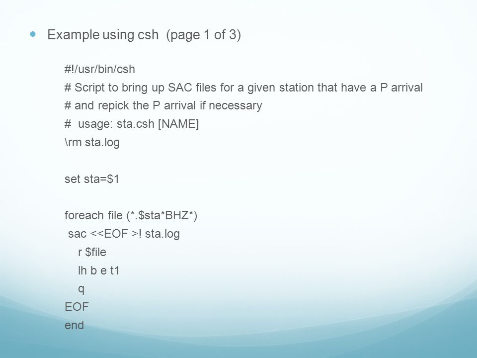 Example using csh (page 1 of 3)