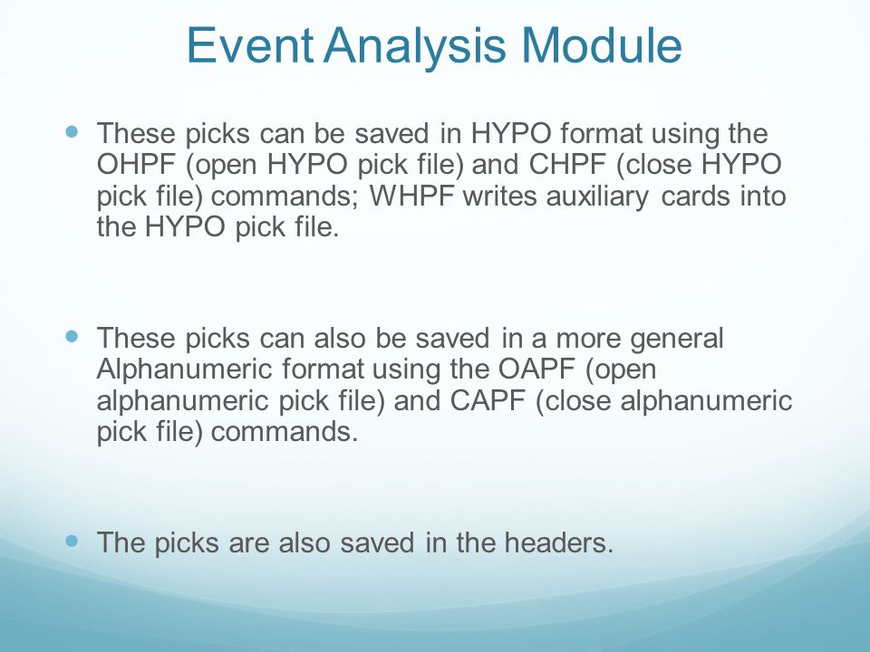 Event Analysis Module