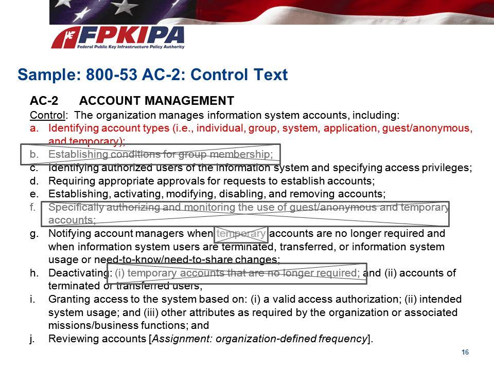 Sample: 800-53 AC-2: Control Text