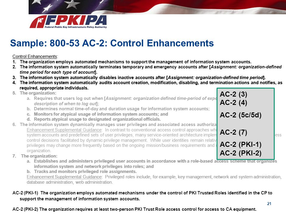 Sample: 800-53 AC-2: Control Enhancements