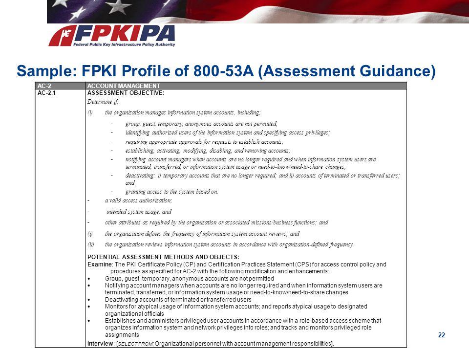 Sample: FPKI Profile of 800-53A (Assessment Guidance)