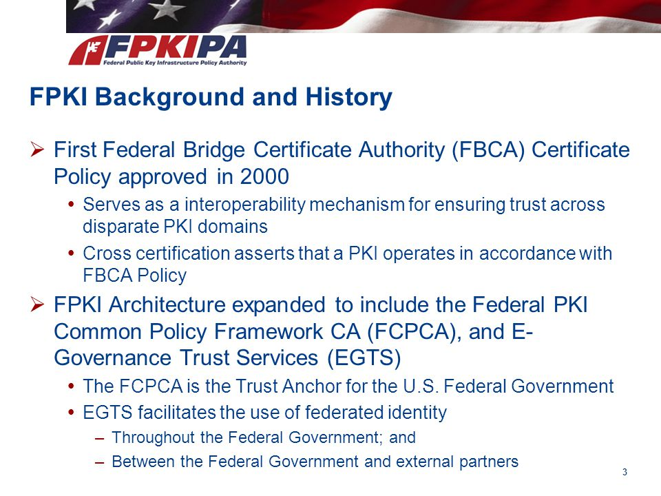 FPKI Background and History