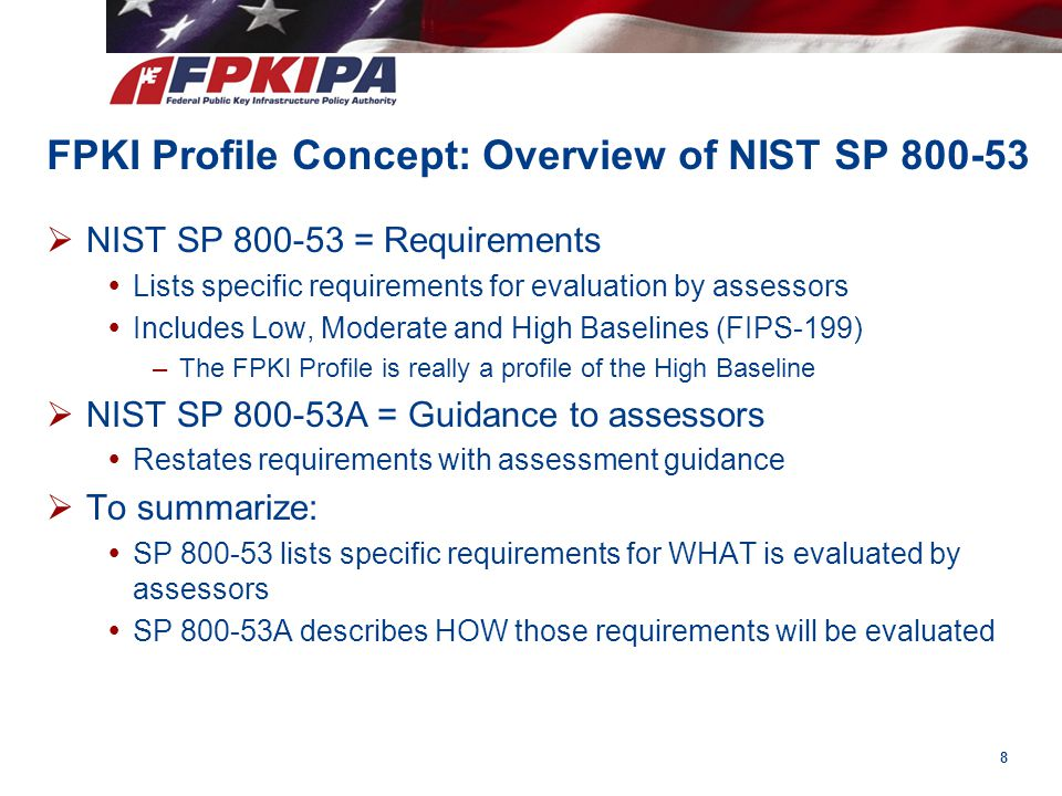 FPKI Profile Concept: Overview of NIST SP 800-53