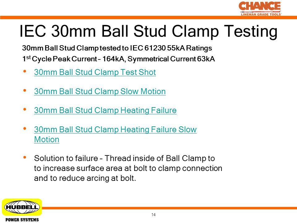 IEC 30mm Ball Stud Clamp Testing