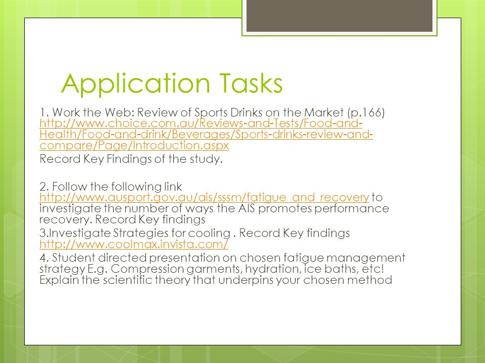 Application Tasks