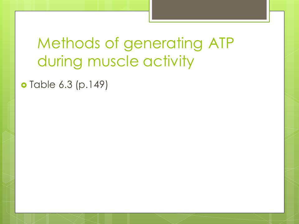 Methods of generating ATP during muscle activity