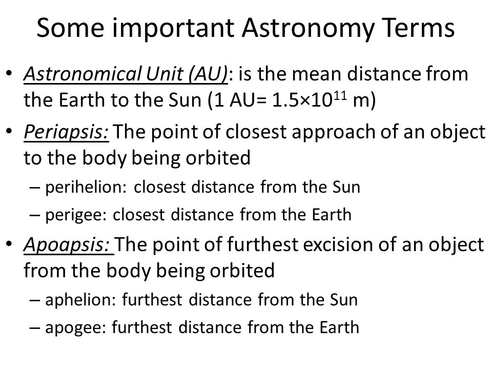 Some important Astronomy Terms