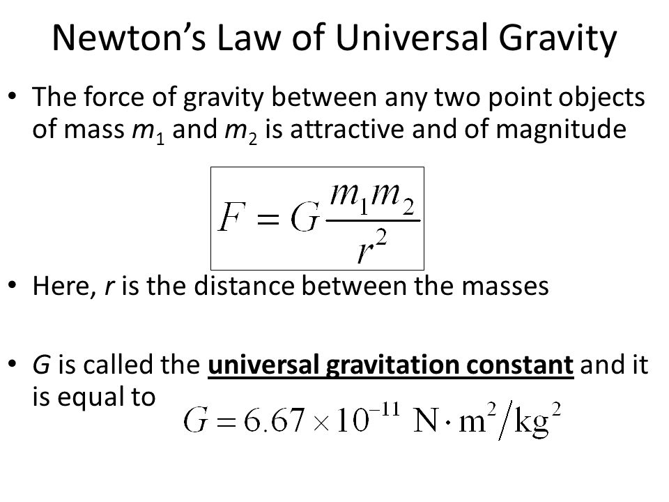 Newton's Law of Universal Gravity