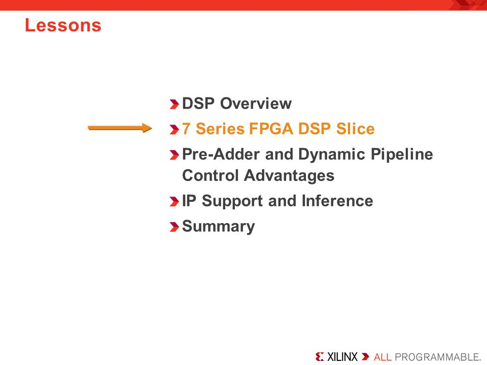 Lessons DSP Overview 7 Series FPGA DSP Slice
