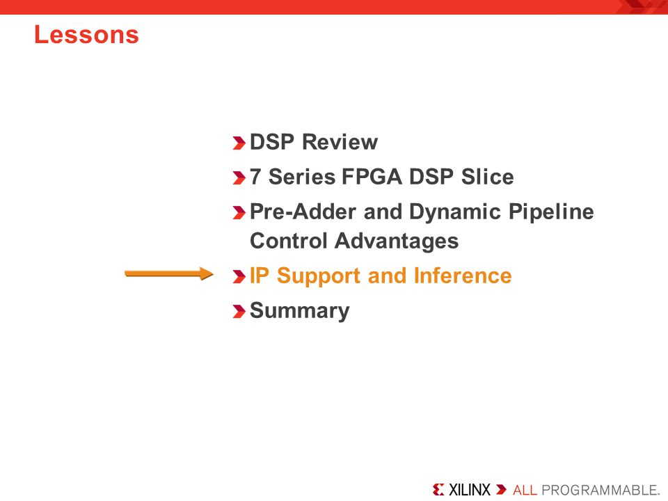 Lessons DSP Review 7 Series FPGA DSP Slice