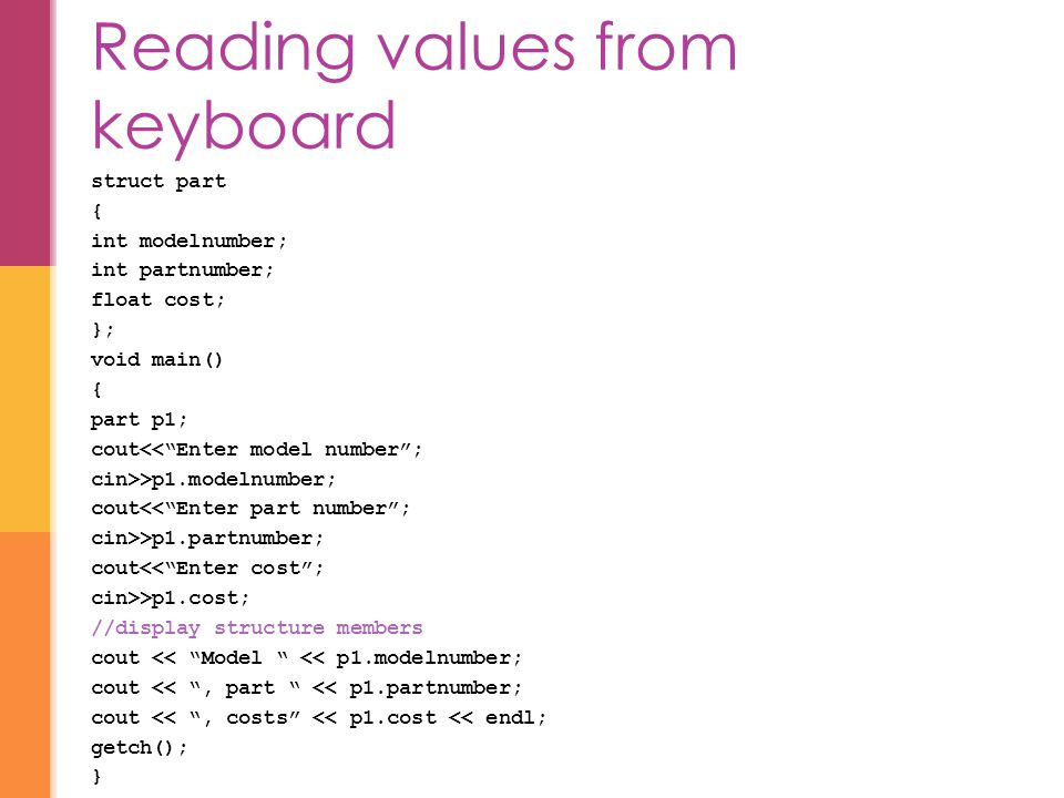 Reading values from keyboard