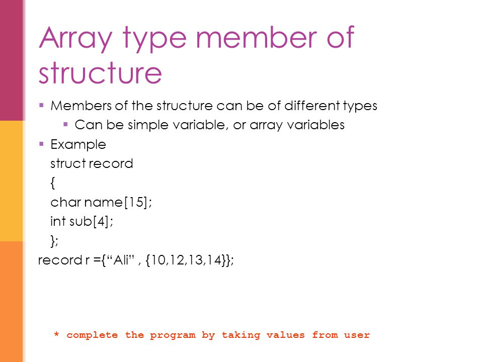 Array type member of structure