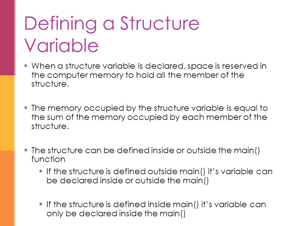 Defining a Structure Variable