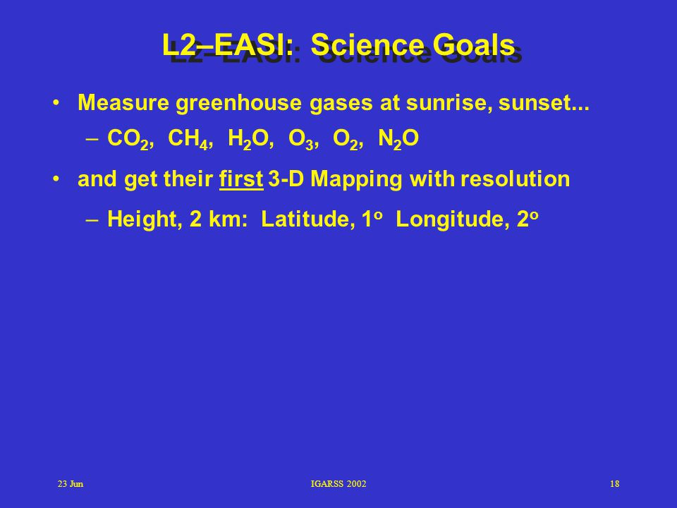 L2–EASI: Science Goals Measure greenhouse gases at sunrise, sunset...