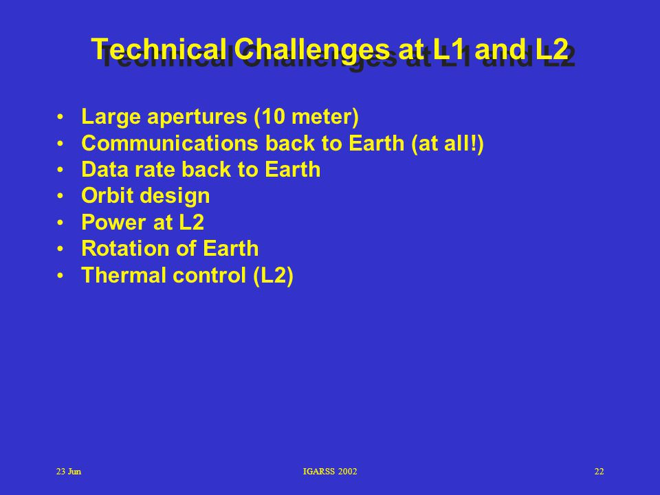 Technical Challenges at L1 and L2